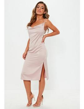 Nude Strappy Cowl Midi Shift Dress by Missguided
