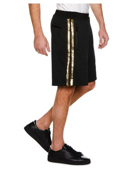 Metallic Side Stripe Knit Basketball Shorts by Dsquared2