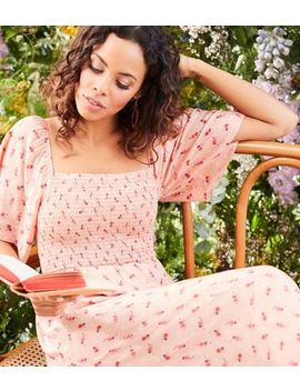 Pink Floral Print Shirred Midi Dress by New Look