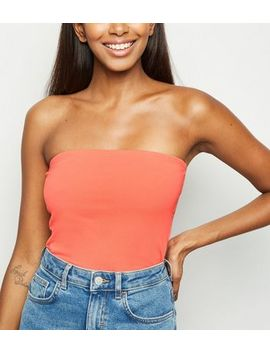 Coral Cropped Bandeau Top by New Look
