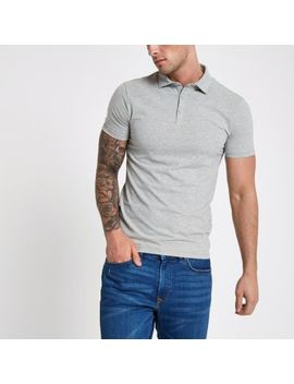 Grey Essential Muscle Fit Polo Shirt by River Island