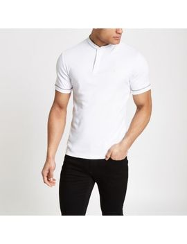 White Check Piped Wasp Embroidered Polo Shirt by River Island