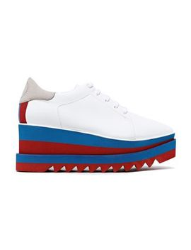 Sneak Elyse 75 Faux Suede And Leather Platform Sneakers by Stella Mc Cartney