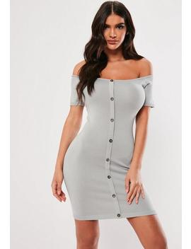 Grey Button Bardot Knitted Mini Dress by Missguided