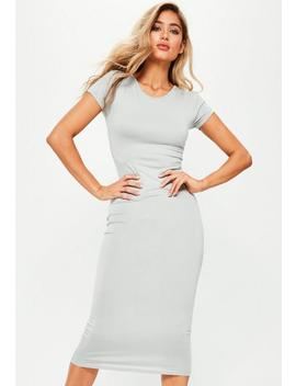 Grey Short Sleeve Midi Dress by Missguided