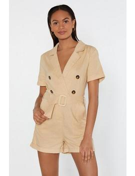You've Got To Be In It Belted Linen Playsuit by Nasty Gal