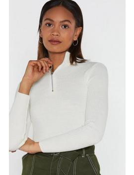 Zip It High Neck Sweater by Nasty Gal