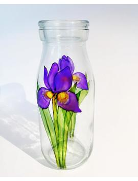 """<Span Data Inner Title="""""""">Milk Bottle Vase, Iris Vase, Hand Painted Glass, Glass Vase, Iris Glass Vase, Iris, Flower Vase, Painted Glass Vase, Gift</Span> by Etsy"""