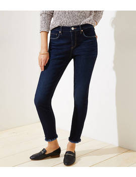 Petite Curvy Slim Pocket Skinny Jeans In Dark Indigo Wash by Loft