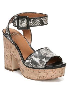 Sarto By Franco Sarto Franny Snake Print Cork Block Heel Sandals by Franco Sarto