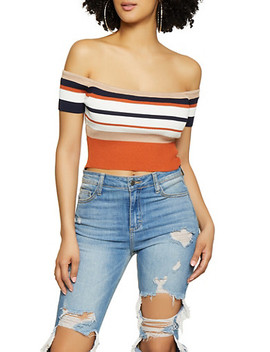 Rib Knit Striped Off The Shoulder Crop Top by Rainbow