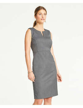 Split Neck Sheath Dress In Sharkskin by Ann Taylor
