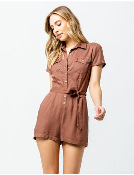 Sky And Sparrow Button Front Womens Romper by Sky And Sparrow