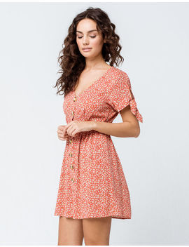Sky And Sparrow Ditsy Floral Button Front Coral Dress by Sky And Sparrow