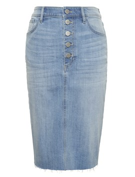 Petite Button Fly Denim Skirt by Banana Repbulic