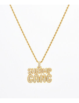 Supreme Patty X The Gold Gods Diamond Shrimp Gang Script Pendant Chain by The Gold Gods