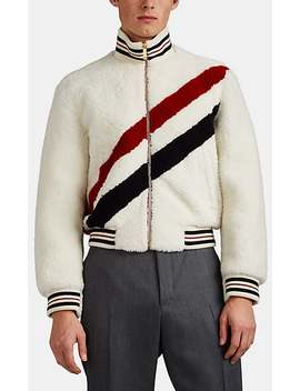 Striped Shearling Bomber Jacket by Thom Browne