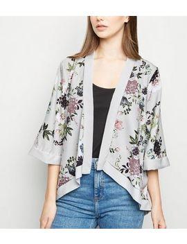 Mela Light Grey Floral Kimono by New Look
