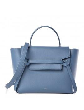 Celine Grained Calfskin Micro Belt Bag Washed Blue by Celine