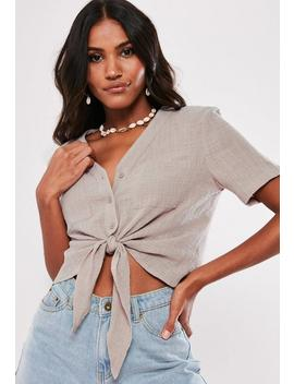 Taupe Tie Front Shirt by Missguided