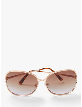 John Lewis & Partners Women's Oversized Square Metal Sunglasses, Rose Gold/Brown Gradient by John Lewis & Partners