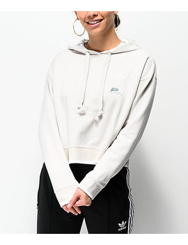 Adidas Raw White Cropped Hoodie by Adidas