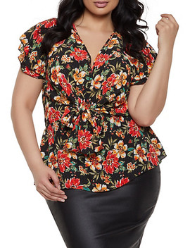 Plus Size Floral Polka Dot Tie Front Top by Rainbow
