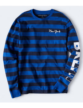 Long Sleeve New York Rugby Stripe Graphic Tee by Aeropostale
