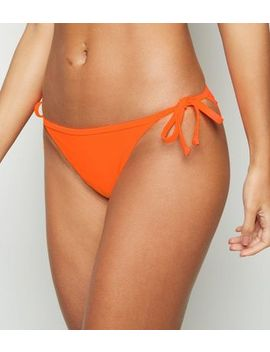 Bright Orange Neon Tie Side Bikini Bottoms by New Look