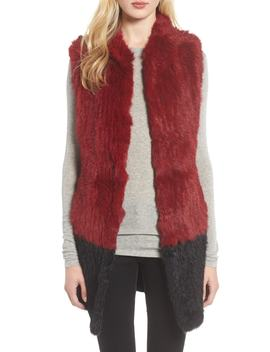 Long Colorblock Genuine Rabbit Fur Vest by Love Token
