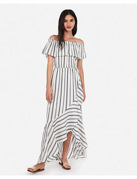 Striped Off The Shoulder Ruffle Wrap Front Maxi Dress by Express