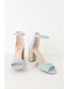 Sidecar Cutie Jute Blue Suede Ankle Strap Heels by Lulus