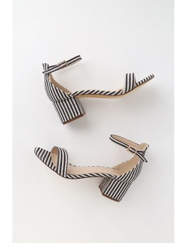 Harper Stripe Blue Striped Ankle Strap Heels by Lulus