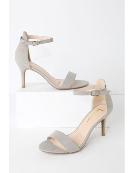 Published Author Grey Suede Ankle Strap Heels by Lulus