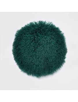Dark Green Mongolian Round Cushion by River Island