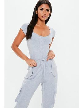 Grey Square Neck Button Front Bodysuit by Missguided