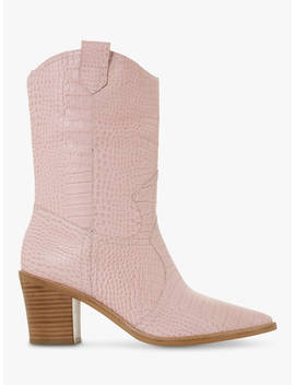 Dune Priotry Western Pointed Toe Heleed Calf Boots, Pink Leather by Dune