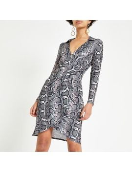 Pink Snake Print Jersey Shirt Dress by River Island