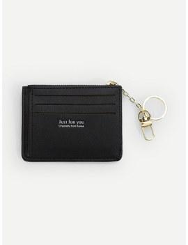 Zipper Trim Card Wallet by Romwe
