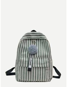 Pom Pom Decor Striped Canvas Backpack by Romwe