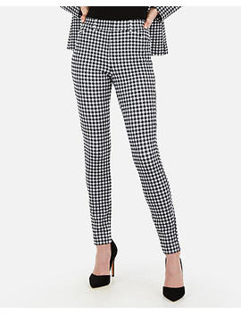 High Waisted Gingham Print Stretch Skinny Pant by Express