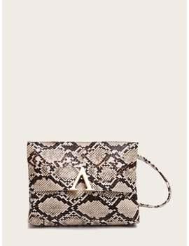 V Cut Snakeskin Print Bag by Romwe