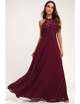 Dance All Evening Burgundy Lace Maxi Dress by Lulus