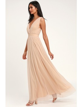 Romantic Moment Nude Mesh Maxi Dress by Lulus