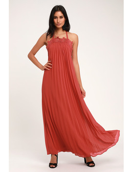 Encinitas Rust Red Lace Pleated Halter Maxi Dress by Lulus