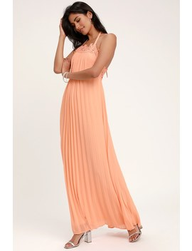 Encinitas Peach Lace Pleated Halter Maxi Dress by Lulus