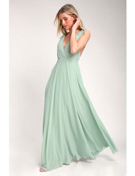 Dance The Night Away Sage Green Backless Maxi Dress by Lulus