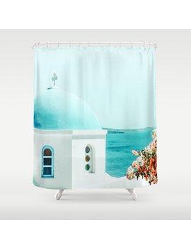 Santorini Dreams #Travel #Digitalart Shower Curtain by Society6