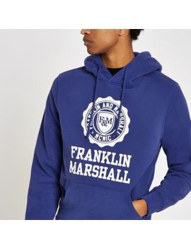 Franklin & Marshall Blue Logo Print Hoodie by River Island