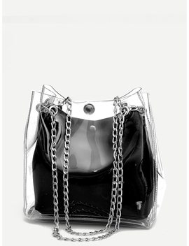 Clear Chain Tote Bag With Inner Pouch by Romwe
